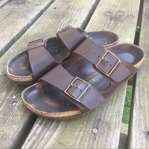 Birkenstock Brown Leather Two Strap Sandals